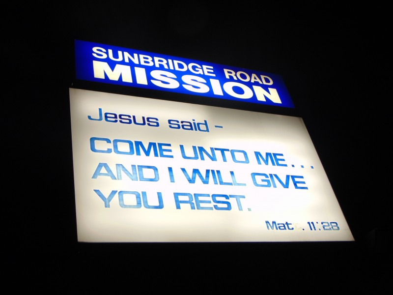 This is the sign that shines outside our church for all to see.